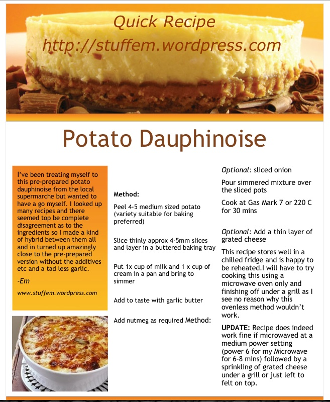 quick recipe potato dauphinoise stuff em up the hill