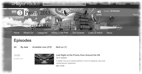 BBC Proms Iplayer page screen grab